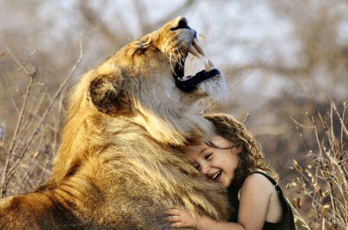 Child Hug Lion